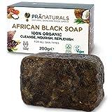 PraNaturals Organisch Afrikanische Schwarze Seife 200g, Vegan Kosmetik, Für Alle...